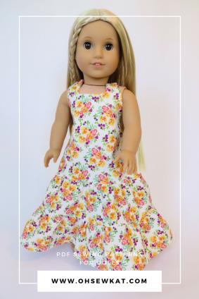 Julie doll in long, floral maxi halter dress
