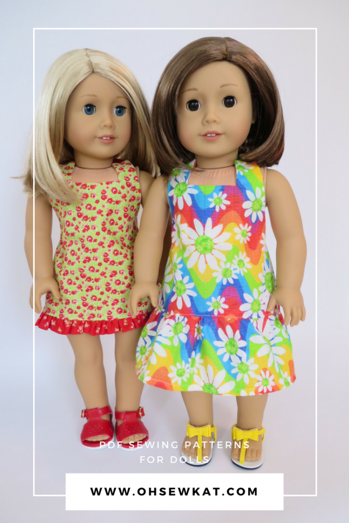 Sew a halter top and capri outfit or sundress for your 18 inch and other sized dolls with a quick and easy sewing pattern from Oh Sew Kat! Print the pattern pieces on your home computer and make a doll outfit in about an hour.