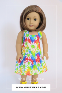 Brown hair american girl doll in floral sundress