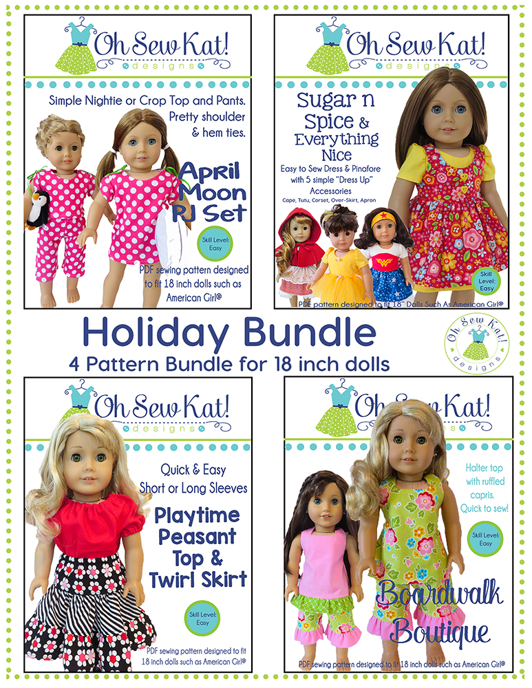 Sewing patterns for American Girl dolls bundle