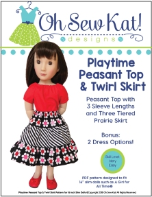 A girl for all time doll in red peasant top and black twirl skirt
