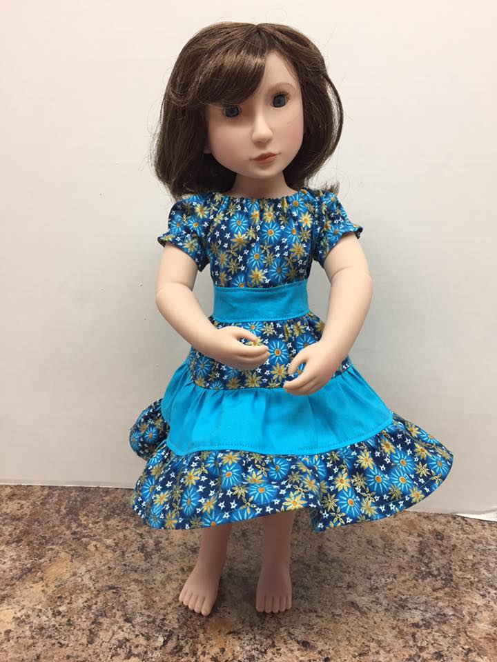 Make a peasant twirl dress for A Girl for All Time dolls with easy patterns by Oh Sew Kat! #agirlforalltime #sewingpatterns #dollclothes #ohsewkat