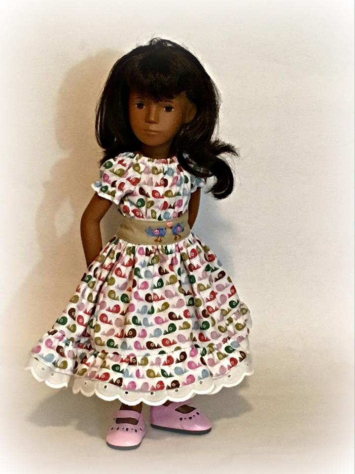 Make a peasant twirl dress for A Girl for All Time dolls with easy patterns by Oh Sew Kat! #agirlforalltime #sewingpatterns #dollclothes #ohsewkat #sashadoll