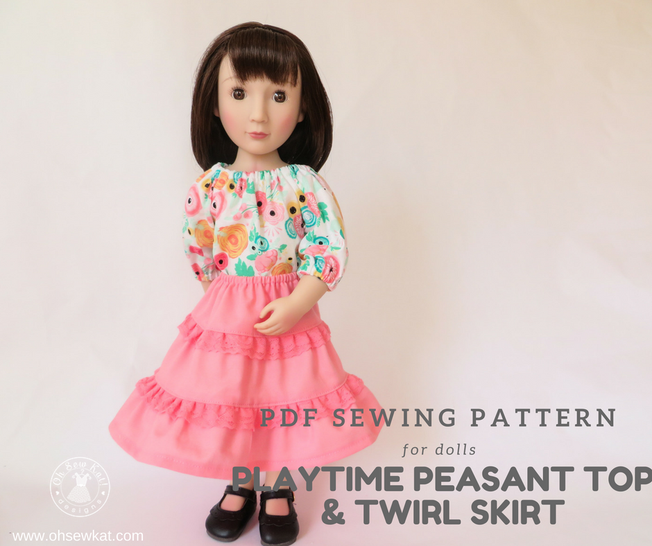 A girl for all time doll in pink skirt and peasant top