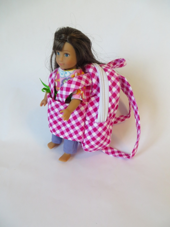 American Girl mini Doll Grace in pink checked backpack