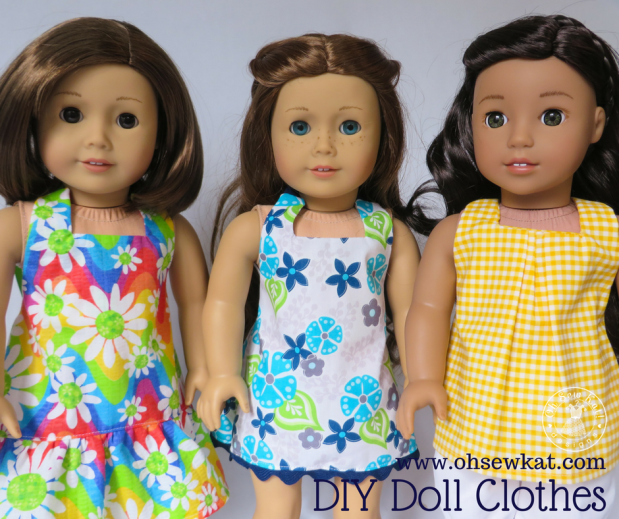 Sew a halter top and capri outfit for your 18 inch and other sized dolls with a quick and easy sewing pattern from Oh Sew Kat! Print the pattern pieces on your home computer and make a doll outfit in about an hour. #sewingpattern #dollclothes #easypattern #ohsewkat #18inchdoll