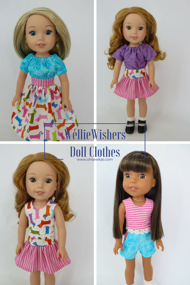 Make your 14 inch Wellie Wishers and Glitter Girls dolls a full wardrobe of doll clothes with easy sewing patterns from Oh Sew Kat!  The PDF digital patterns make it easy to download, print, and sew. Follow along with a photo of every step!