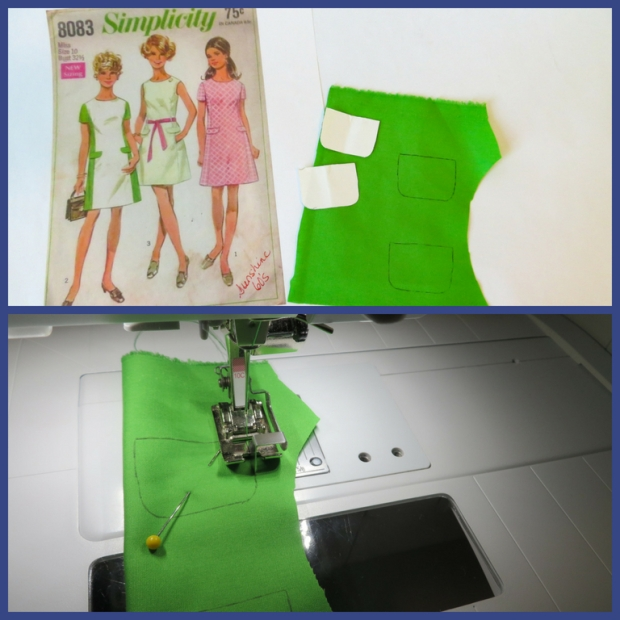 tutorial photos to make faux pockets on doll dress