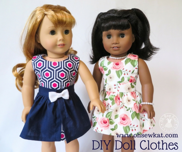 Doll dress sewing pattern 50s 60s inspired Oh Sew Kat