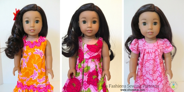 Hawiian dress sewing pattern for Nanea american girl doll