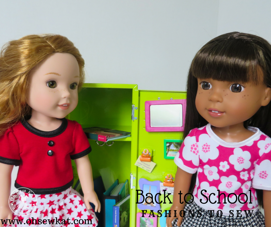 Get your dolls ready for back to school with easy Fashion outfits you sew yourself! Easy beginner PDF sewing patterns for 18 inch and 14 inch dolls from OhSewKat! Free pattern! #backtoschool #autumncrafts #18inchdolls #dollclothes #ohsewkat #14inchdolls #dolldress #welliewishers