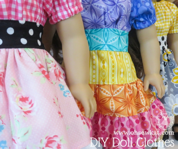Learning to sew? Find over 10 tips for sewing newbies! Use easy print at home PDF patterns to sew doll clothes for your 18 inch, 14 inch and Bitty Baby dolls with patterns by Oh Sew Kat! #sewingtips #sewingpatterns #dollclothes #18inchdoll #ohsewkat
