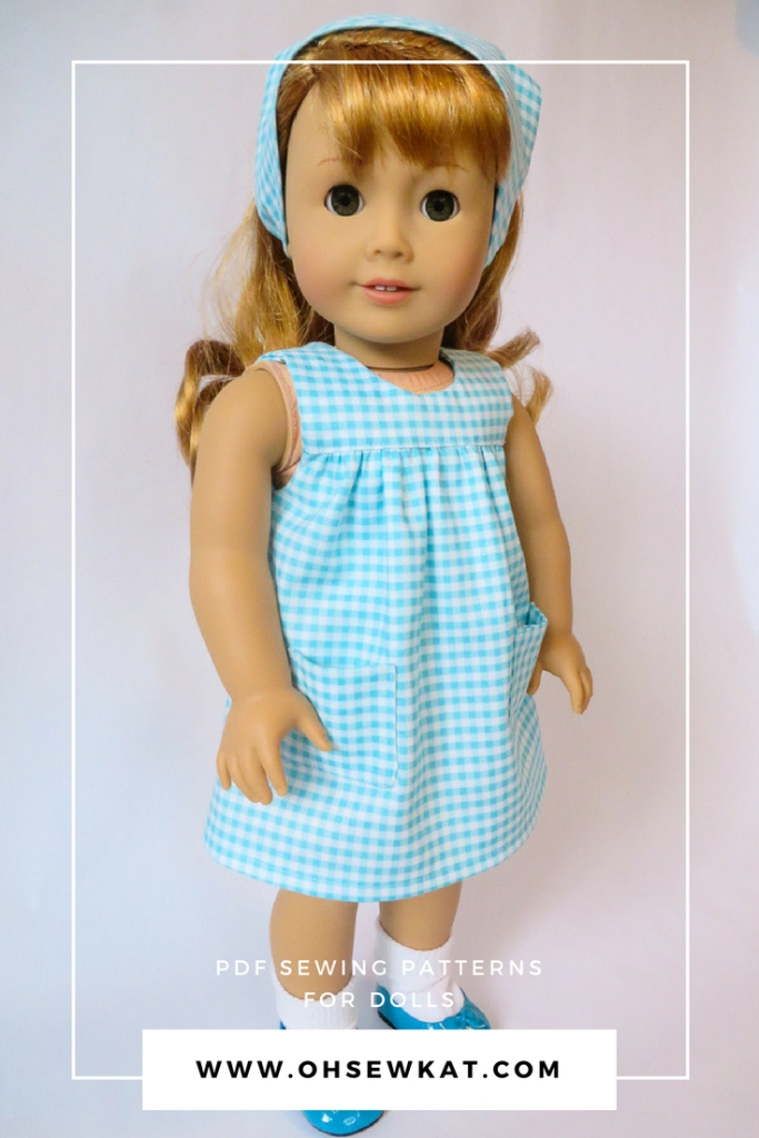 Make a 50s style gingham smock dress for BeForever character Maryellen or other 18 inch dolls with this easy Pattern Hack. Add pockets to the Bloomer Buddies easy sewing pattern by Oh Sew Kat! with this simple tutorial. #sewingpattern #50sfashions #dollclothes #patternhack #ohsewkat