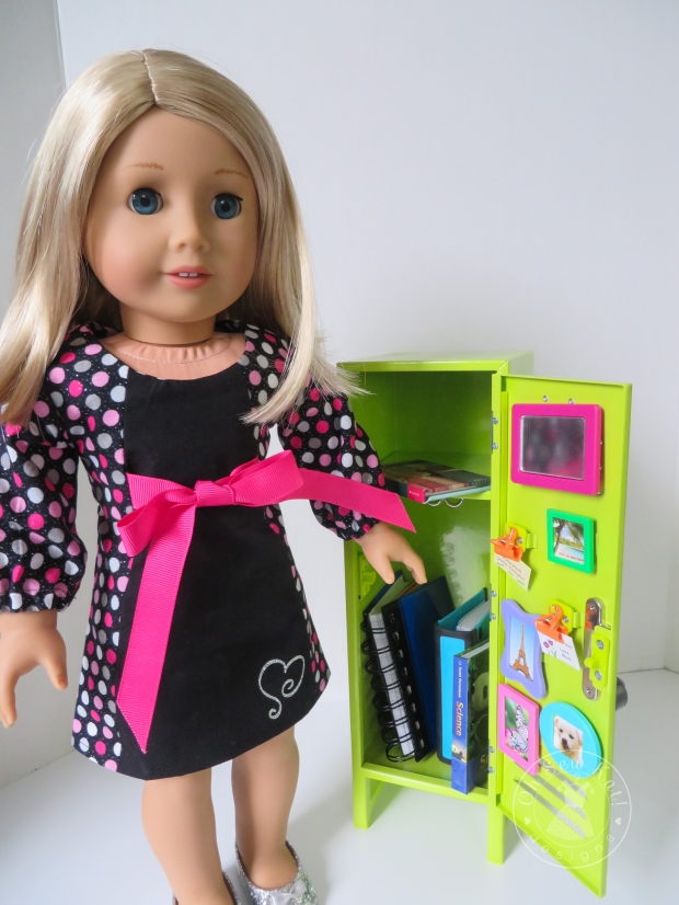 American Girl Doll in School Dance Dress with school locker