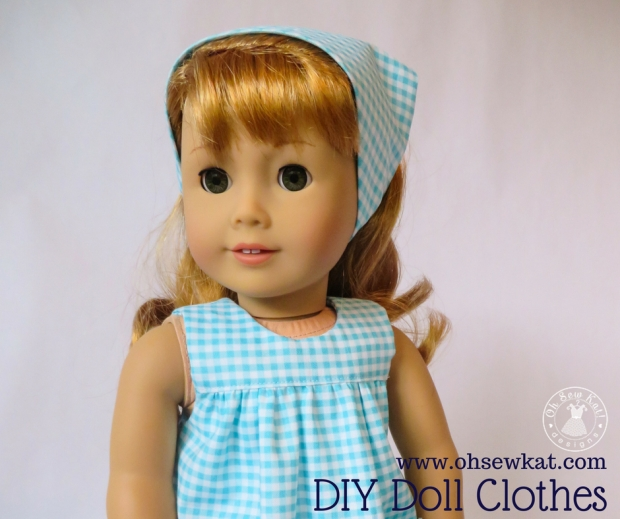 50s style gingham head scart tutorial for Maryellen Dolls