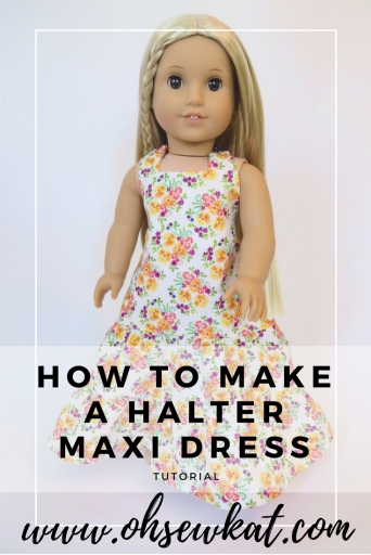 Make a halter maxi dress for your Julie doll with the Boardwalk Boutique PDF sewing pattern from Oh Sew Kat!
