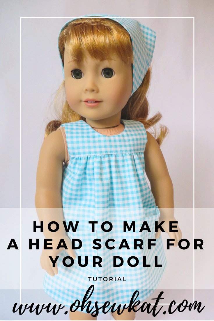 Make a 50s style head scarf for your American Girl 18 inch doll with this easy tutorial from Oh Sew Kat. Sew a matching dress with easy, PDF sewing patterns.