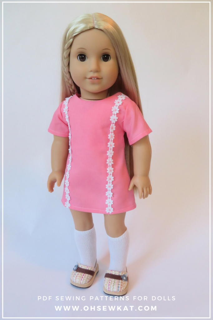 Make Julie a groovy 70s dress with this easy sewing pattern from Oh Sew Kat! The Sunshine Dress is quick and easy to sew for your dolls!