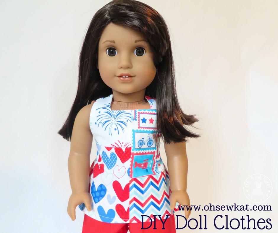 How to make a one of a kind patchwork doll top with easy sewing pattern by oh sew kat. Boardwalk Boutique easy, digital sewing pattern for 18 inch dolls. #18inchdolls #dollclothes #sewingpattern #ohsewkat
