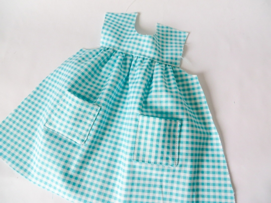 Blue Gingham Bloomer Buddies Dress for dolls