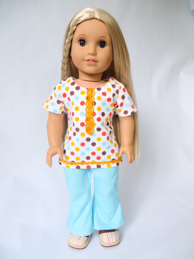 Make a fashion outfit for your 18 inch Julie doll with easy, sewing patterns from ohsewkat. Beginner level PDF learn to sew patterns. #dollclothes #sewingpatterns #1970s #ohsewkat #juliedoll #18inchdoll