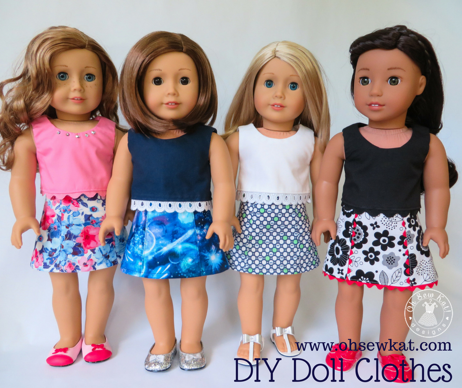 Sew an easy skirt for your 18 inch doll with the Sixth Grade Skirt PDF sewing pattern from Oh Sew Kat! Find a full wardrobe of easy doll clothes sewing patterns in my Etsy Shop.  #dollclothes #sewingpatterns #ohsewkat