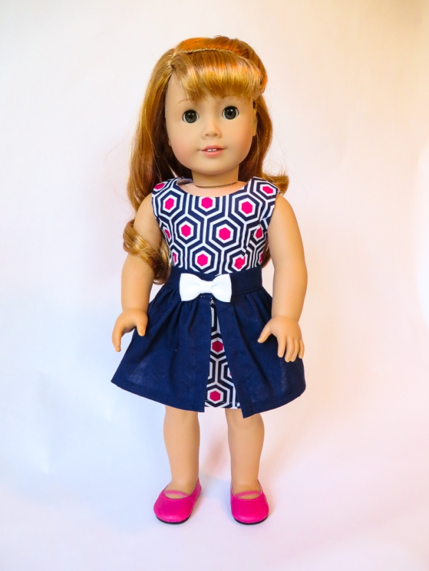 Make a 50's outfit for Maryellen American Girl Doll Clothes with easy sewing PDF patterns from Oh Sew Kat! Blog with craft tutorials and free skirt pattern. #ohsewkat #dollclothes #50s #dress #maryellen #sewing