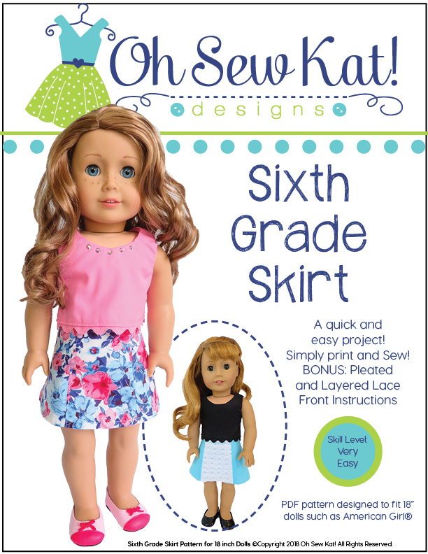 Sixth Grade Skirt doll skirt sewing pattern