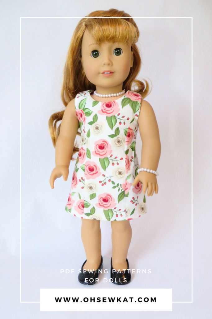 Make doll clothes for your 18 inch dolls like American Girl with easy to sew PDF doll patterns from Oh Sew Kat! Sleeveless Sunshine Dress easy sewing pattern hack tutorial.