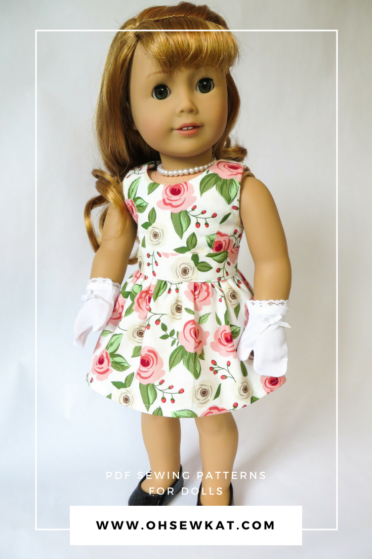 Sewing patterns for dolls 50s dress with removable overskirt