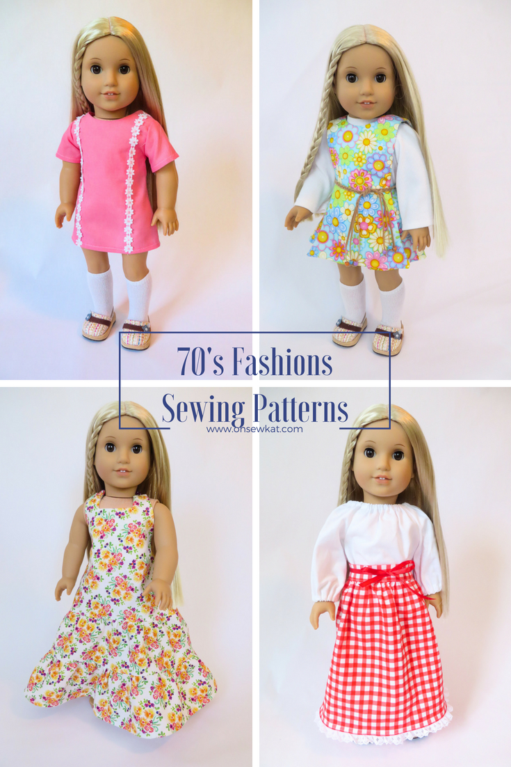 Make a 70s outfit for Julie American Girl Doll Clothes with easy sewing PDF patterns from Oh Sew Kat! Blog with craft tutorials and free skirt pattern. #ohsewkat #dollclothes #70s #dress #Julie #sewing