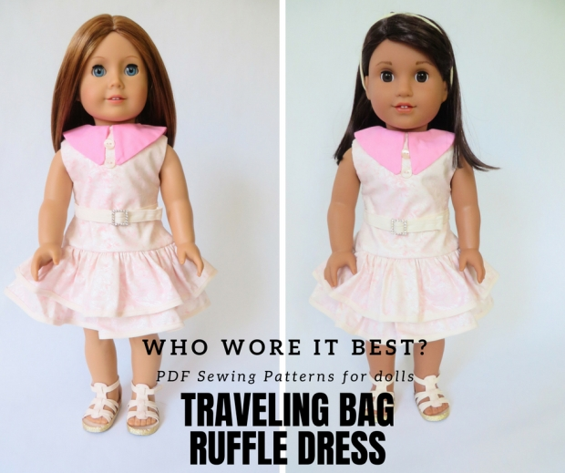 Who wore it best doll clothes contest, 18 inch doll sewing patterns by Oh Sew Kat! #sewingpatterns #dollclothes #18inchdoll #dolldress