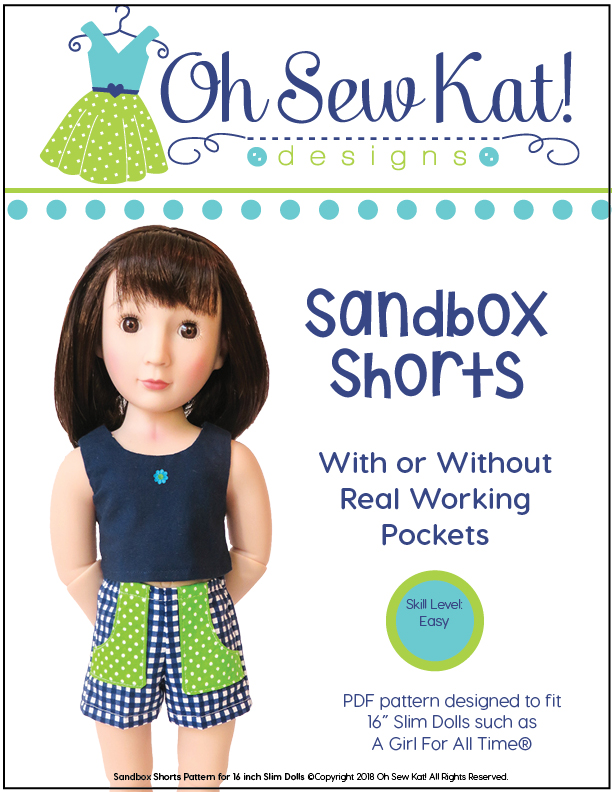 Doll shorts sewing pattern for A Girl for All Time Dolls.  Find easy PDF sewing patterns for 16 inch ball jointed dolls like A Girl for all Time from Oh Sew Kat.
