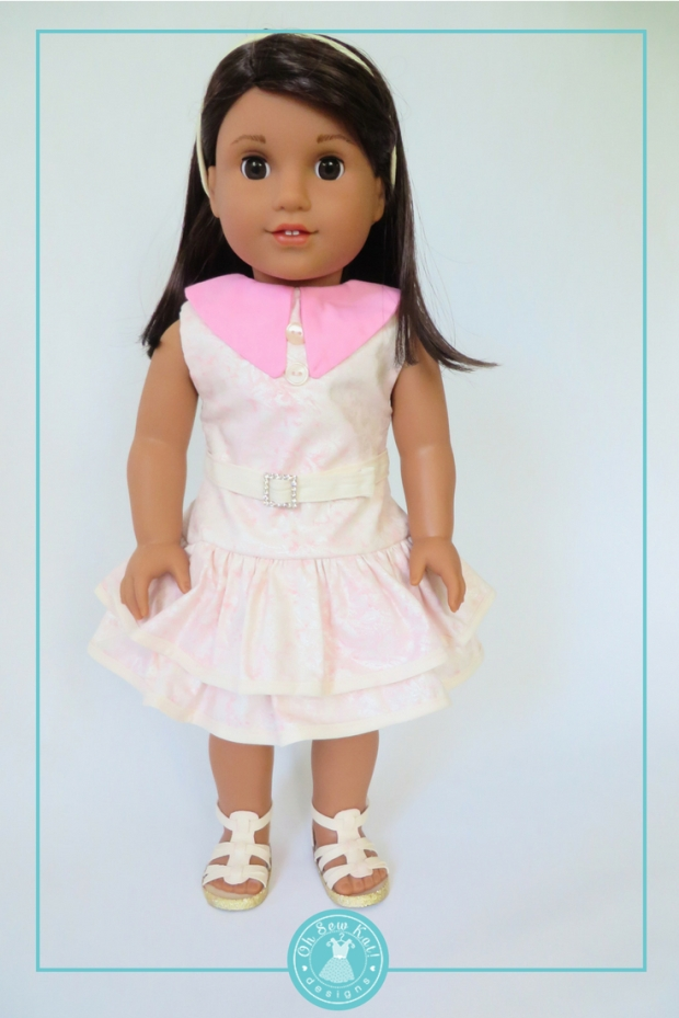 Who wore it best doll clothes contest, Luciana Vega or Emily? 18 inch doll sewing patterns by Oh Sew Kat! #sewingpatterns #dollclothes #18inchdoll #dolldress
