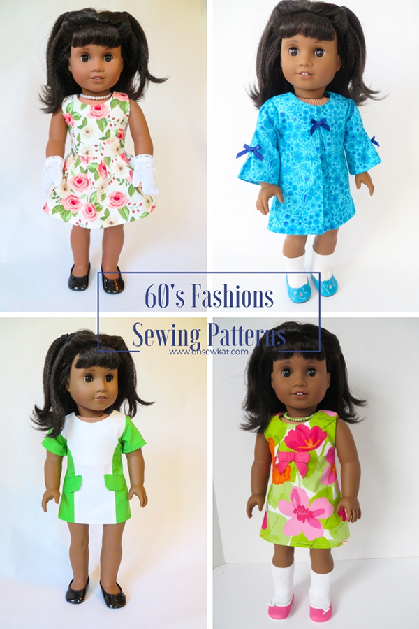 Sew a 60s style dress for American Girl Doll, Melody Ellision, with easy print at home PDF sewing patterns by OhSewKat. #melody #60sfashion #diydollclothes #sewingpattern #swingdress