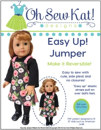 New sewing pattern for dolls! Sew an easy and reversible fall jumper for 18 inch and 14 inch dolls with this easy pattern from Oh Sew Kat! Find more patterns and a free skirt pattern at www.ohsewkat.com. #dollclothes #sewingpattern #ohsewkat #18inchdoll
