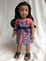 Sew an easy and reversible fall jumper for 18 inch and 14 inch dolls with this easy pattern from Oh Sew Kat! More patterns and style available in my shop and find a free skirt pattern at www.ohsewkat.com. #dollclothes #sewingpattern #ohsewkat #18inchdoll
