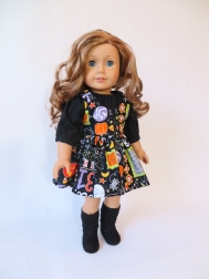 Simple sewing patterns for 18 inch dolls like American Girl by Oh Sew Kat! Sugar n Spice Dress and pinafore pattern to DIY doll clothes for your 18 inch doll or her friends. #sewingpattern #dolldress #americangirl #ohsewkat