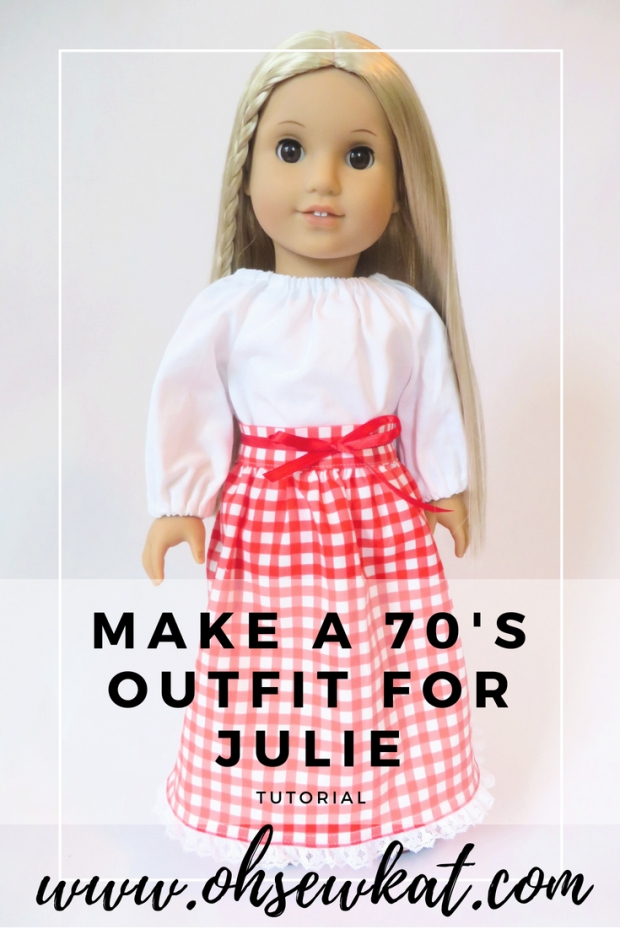 Make a 70s peasant top and skirt outfit for Julie doll