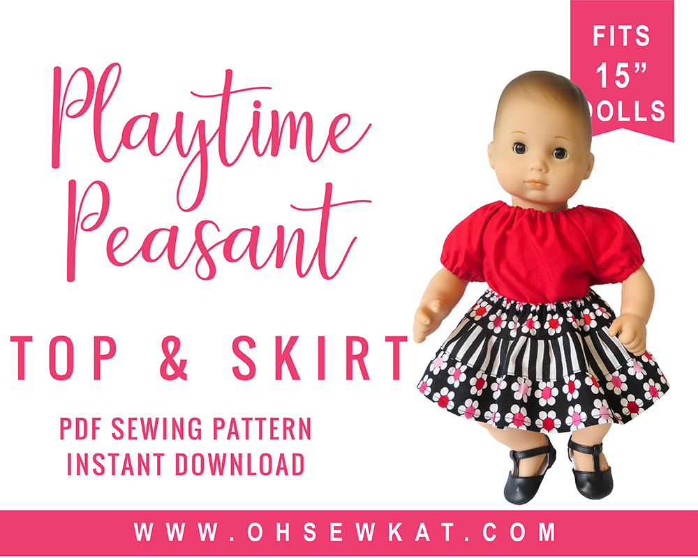 Bitty Baby sewing pattern by Oh Sew Kat! Easy peasant top and twirl skirt for 15 inch baby doll clothes. #ohsewkat #easysewing #bittybaby #dollclothes