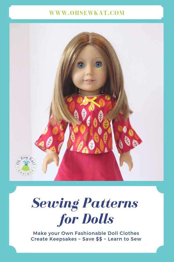Easy sewing patterns for 18 inch dolls like American Girl from Oh Sew Kat! PDF digital downloads to print and sew! School Bell Blouse sewing pattern to diy doll clothes. #ohsewkat #americangirl #dollclothes #sewingpattern #easydresspattern #schoolbellblouse