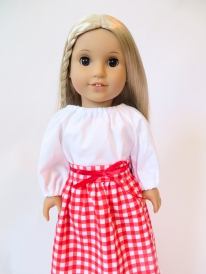 Make a 1970s doll gingham skirt and peasant top for Julie BeForever Doll with easy sewing patterns from Oh Sew Kat! Download your PDF sewing pattern and print on your home printer to sew this afternoon! #ohsewkat #americangirldolls #juliedoll #sewingpattern