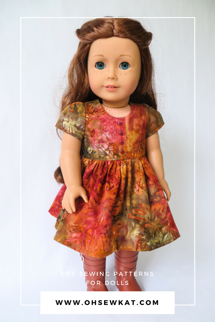 Easy to sew doll dress sewing pattern by Oh Sew Kat! Sugar n Spice fall batik dress for Saige, American Girl Doll. #sewingpatterns #18inchdoll #ohsewkat #dress #fallfashion
