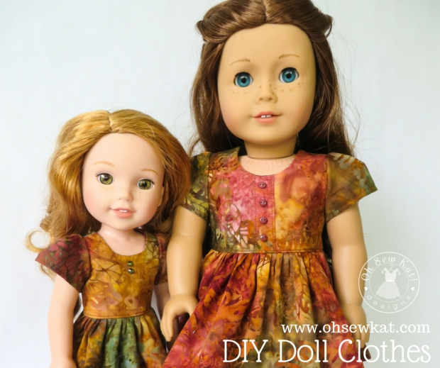 Sewing pattern to make your own doll dress for American Girl Dolls and Wellie Wishers. #ohsewkat #sugarnspicedress #easypatterns #freepattern #dolldress #sewingpattern