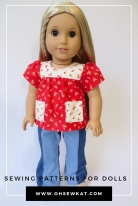 Make a calico 70s style top for Julie American Girl doll with easy PDF sewing patterns by oh sew kat. #ohsewkat #bloomerbuddies #juliedoll #sewingpattern
