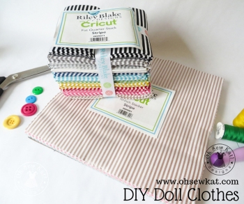 Find doll scale fabrics to make cute doll clothes from Cricut. Small stripes by Riley Blake, perfect for the Four Season Skirt- free pattern at www.ohsewkat.com. #maker #cricut #dollclothes #sewingpatterns #stripes #18inchdolls