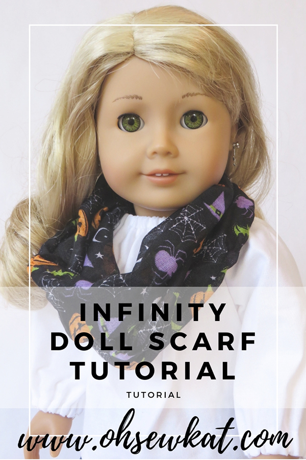 How to make an infinity scarf for your doll with Dollar Tree Supplies. Visit www.ohsewkat.com to try a free doll clothes sewing pattern. #dollclothes #sewingpattern #ohsewkat #craft #tutorial #18inchdolls
