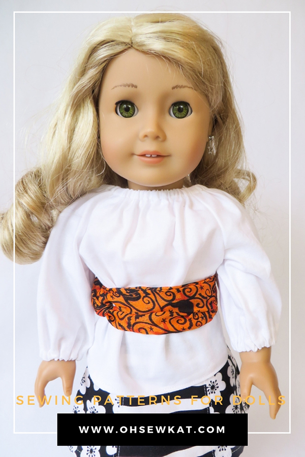 How to make an infinity scarf and belt for your doll with Dollar Tree Supplies. Visit www.ohsewkat.com to try a free doll clothes sewing pattern. #dollclothes #sewingpattern #ohsewkat #craft #tutorial #18inchdolls