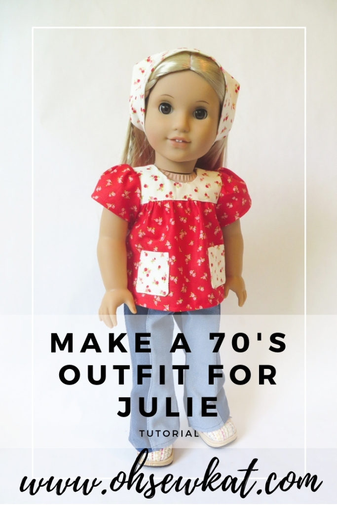 Make a 70s inspired doll top for American Girl doll Julie Albright with easy sewing patterns from Oh Sew Kat. #ohsewkat #bloomerbuddies #julie #1970sfashions #dollclothes #sewingpatterns