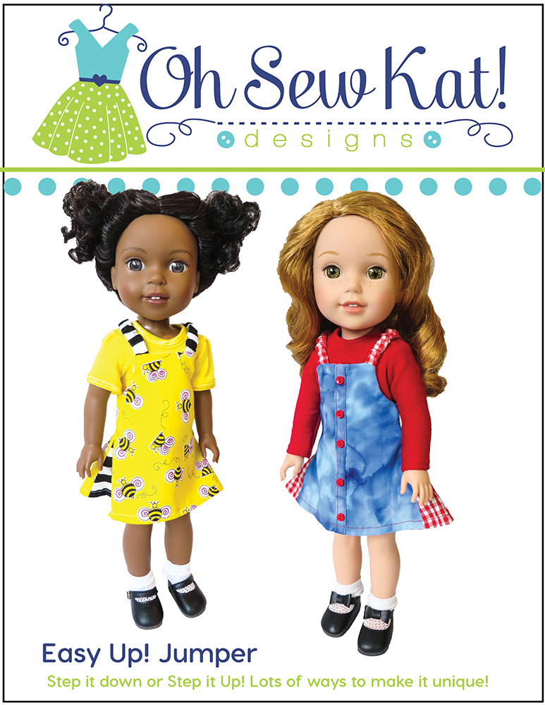 Easy Up! Jumper beginner sewing pattern from OhSewKat! Easy to sew 14 inch doll clothes in many styles. #ohsewkat #dollclothes #welliewishers #americangirldoll #sewingpattern